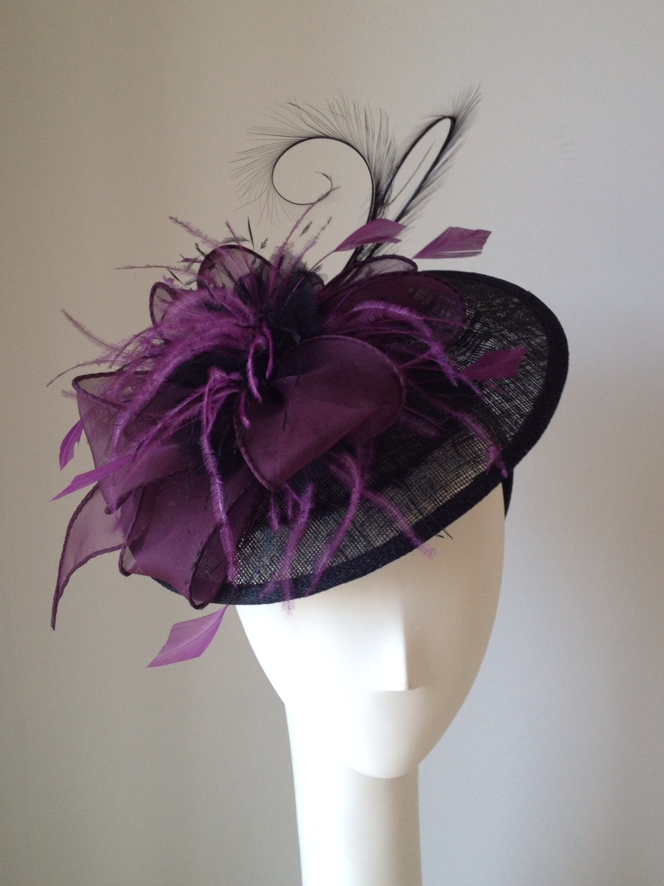 Del Mar Racetrack Opening Day Jill Courtemanche Millnery San Diego Polo Club Hat Headband black purple